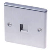 LAP 1-Gang Master Telephone Socket Brushed Stainless Steel