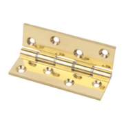 Eclipse Double Steel Washered Hinge Polished Brass 67 x 102mm Pack of 2
