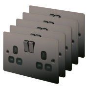 LAP 2-Gang 13A DP Switched Sockets Black Nickel Flat Plate Pack of 5