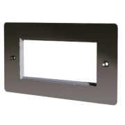 LAP 2-Gang Front Plate with 4 Module Aperture + Earth Black Nickel