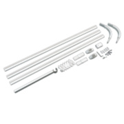 4-Way Shower Curtain Rail Kit Aluminium Alloy White 800 x 800mm