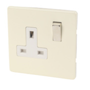 Varilight 1-Gang DP White Choc Switched 13A Socket with Metal Rocker