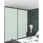 2 Door Sliding Wardrobe Doors Black Frame White Glass Panel 1480 x 2330mm