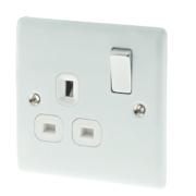 British General 13A 1-Gang DP Switched Plug Socket Polished White