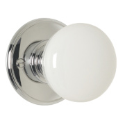 Delamain Porcelain Mortice Knob White Polished Chrome 70mm Pack of 2