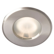Robus Fixed Round Mains Voltage Bathroom Downlight Brushed Chrome 240V