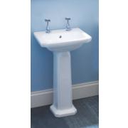 Dartmouth Full Pedestal Cloakroom Basin 2 Tap Holes 485mm