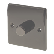 British General 1-Gang 2-Way Push Dimmer Switch 400W Black Nickel