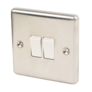 LAP 2-Gang 2-Way 10AX Light Switch Brushed Stainless Steel