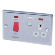 LAP 2-Gang 45A DP Cooker Switch & 13A Plug Socket w/ Neon Stainless Steel