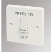 Crabtree 1-Gang 2-Way Retractive Switch marked 'Press to Exit'