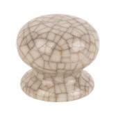 Traditional Cabinet Door Knobs Porcelain Crackled Cream 38mm Pack of 2