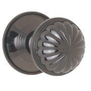 Jedo Fluted Door Knob Pair Black Nickel 65mm Pack of 2