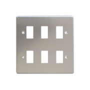 Varilight XDSPG6 6-Gang PowerGrid Faceplate Metal