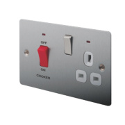 LAP 2-Gang 45A DP Cooker Switch & 13A Plug Socket Brushed Stainless Steel