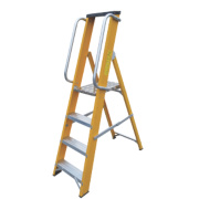 Lyte Platform Ladder with Safety Handrails Aluminium Alloy 4 Treads 1.44m