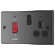 LAP 2-Gang 45A DP Cooker Switch & 13A Plug Socket w/ Neon Black Nickel