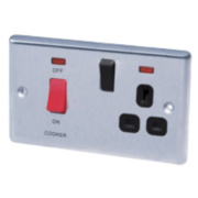 LAP 2-Gang 45A DP Cooker Switch & 13A Switched Plug Socket Stainless Steel