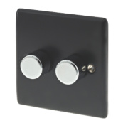 British General 2-Gang 2-Way Push Dimmer Switch 400W Matt Black