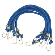 Bungee Cords with Zinc Hooks Blue 600 x 12mm Pack of 6