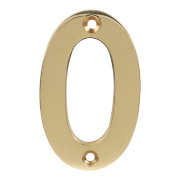 Door Numeral No. 0 Polished Brass Effect