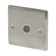 British General 1-Gang TV Coaxial Socket Brushed Iridium
