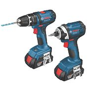 Bosch Professional 18V 1.5Ah Li-Ion Twin Pack Combi Drill & Impact Driver