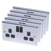 LAP 13A 2-Gang SP Switched Plug Sockets Polished Chrome Pack of 5