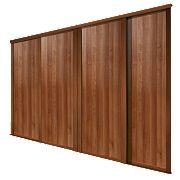 Spacepro 4 Door Panel Sliding Wardrobe Doors Walnut 2390 x 2260mm 4 Pack