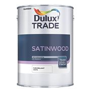 Dulux Trade Trade Satinwood Gloss Paint Pure Brilliant White 1Ltr