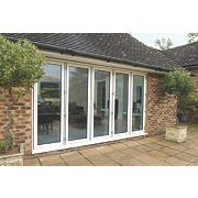 Unbranded Bi-Fold Double-Glazed Patio Door White Aluminium 3939 x 2094mm