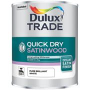 Dulux Trade Satinwood Paint Pure Brilliant White 1Ltr