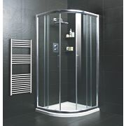 Moretti Quadrant Shower Enclosure Double Sliding Door Silver 900mm