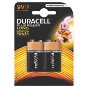 Duracell Alkaline Plus Power 9V Batteries Pack of 2