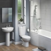 Ashley Contemporary P-Shape Left Hand Bathroom Suite with Acrylic Bath