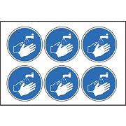 Wash Hands Symbol Self-Adhesive Signs 230 x 100mm Pack of 30