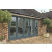 Bi-Fold Double-Glazed Patio Door Grey Aluminium 3939 x 2094mm