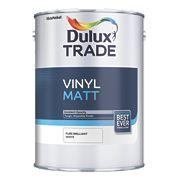 Dulux Trade Vinyl Matt Emulsion Paint Pure Brilliant White 5Ltr