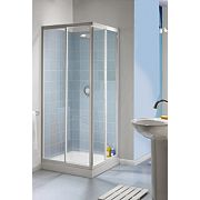 Aqualux Aqua 4 Square Slider Door Shower Enclosure Silver Effect 760mm
