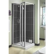 Aqualux Square Bi-Fold Door Shower Enclosure Silver Effect 760mm