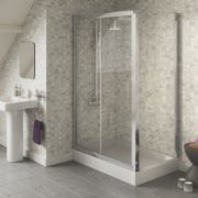 Swirl Square Slider Door Shower Enclosure Polished Silver 1200mm