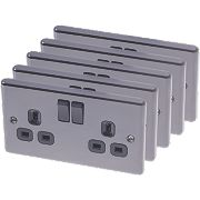 LAP 13A 2-Gang SP Switched Plug Sockets Black Nickel Pack of 5
