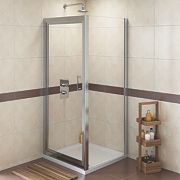 Swirl Square Shower Enclosure Polished Silver 900mm
