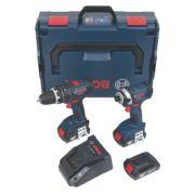 Bosch 0615990GU8 18V 1.5Ah Li-Ion Twin Pack Combi Drill & Impact Driver