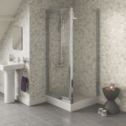 Swirl Square Pivot Door Shower Enclosure Polished Silver 900mm
