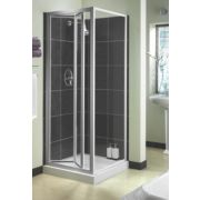 Aqualux Shower Enclosure Bi-Fold Door Square Silver 760 x 1850mm