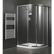Framed Sliding Door Offset Quadrant Shower Enclosure Left Hand Opening Polished Silver 740mm