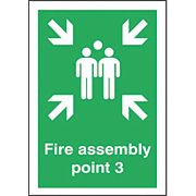 """Fire Assembly Point 3"" Sign 420 x 297mm"