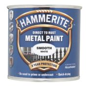 Hammerite Smooth Metal Paint White 250ml