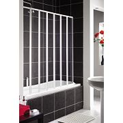 Aqualux Folding Bath Screen White/Clear 1430 x 1400mm